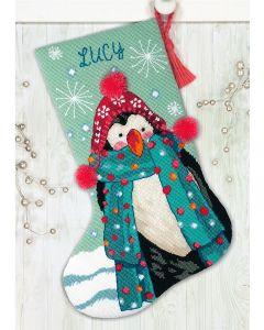 Voorbedrukt borduurpakket Kerstsok pinguin Dimensions 71.09160