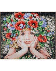 Diamond Painting pakket meisje met bloemen van Lanarte PN-0188130