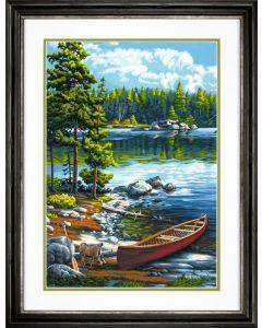 Schilderen op nummer kano bij het meer Dimensions 73-91446