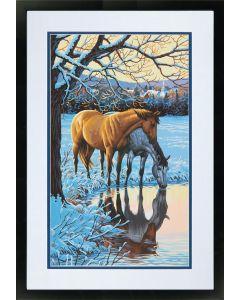 Schilderen op nummer paarden in de sneeuw Dimensions 73-91492