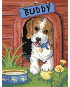 Schilder op nummer buddy met hondenhok Dimensions 91396