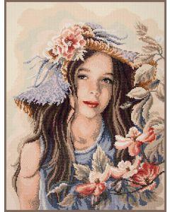 Diamond Painting pakket meisje met de hoed van Lanarte PN-0189505
