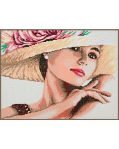 Diamond Painting pakket dame met de hoed van Lanarte PN-0189507