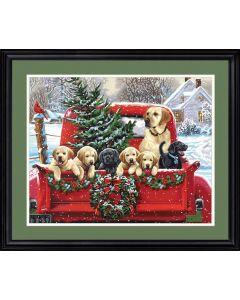 Schilderen  op nummer holiday puppy truck Dimensions 73-91773