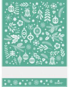 DMC  keukendoek kerstmotieven met borduurrand groen