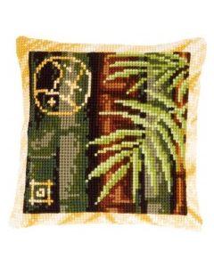 Voorbedrukt kruissteek kussen bamboo 2 als borduurpakket