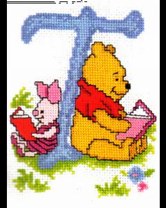 Borduurpakket winnie the pooh  en Knorretje  telpakket alfabet T van Vervaco