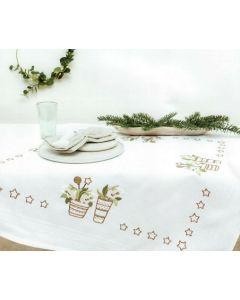 Borduurpakket tafelkleedje kerstkplanten van Rico design 31245.52.22