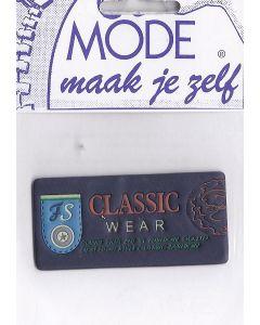 Blauw met oranje tekst Classic maar ook teksten en figuren met de kleuren geel, groen en lichtblauw met een lederlook (plastic).