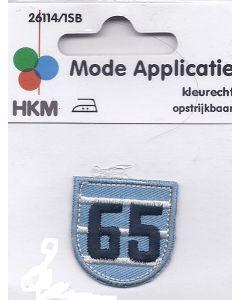 Licht blauw met witte strepen en met een donkere kleur blauw 65 applicatie.