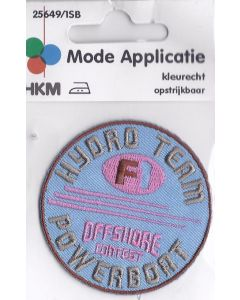 Applicatie rond, licht blauw met roze en lever kleurige tekst