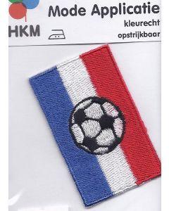 Rood, wit, blauw met voetbal applicatie.