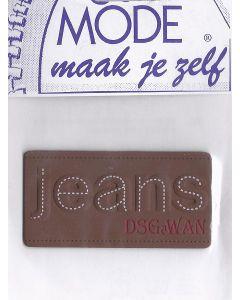 Bruin, leerlook en tekst Jeans applicatie.