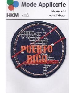 Blauw, rond applicatie met tekst Puerto Rico