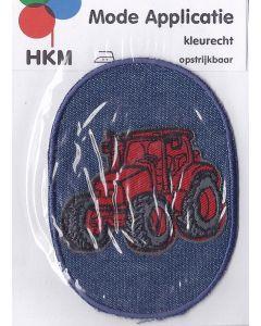 Rode tractor op spijkerstof applicatie.