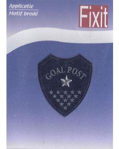 Blauw met tekst Goal post en sterren applicatie.