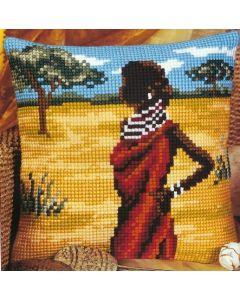 Vervaco borduurkussen Afrika in kruissteek