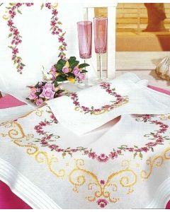 Vervaco tafelkleed bloemen borduren 2351 loper voorbedrukt