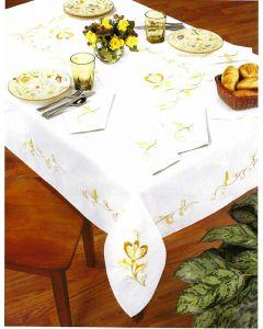 Pako borduurpakket voorbedrukt tafelkleed bloem met bladeren 319.006 150x260cm platsteek