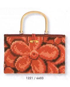 Handtas in kruissteek rode bloem