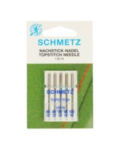 Schmetz naaimachinenaalden topstitch set 2x 80/12, 2x 90/14 en 1x 100/16.