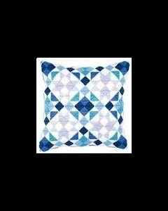 Vervaco borduurpakket voorbedrukt spansteek kussen blauwe ruiten pn-0145699