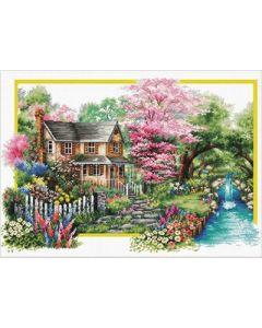 Voorbedrukt borduurpakket Spring Comes - Lente  op aida van Needleart world.   740.058