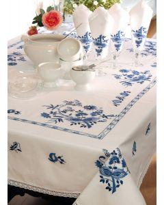 Pako borduurpakket rond tafelkleed bloemen 314.036 voorbedrukt borduren 160 cm
