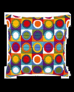 Borduurpakket  voorbedrukt spansteek kussen veelkleurige cirkels van vervaco