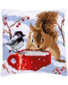 Vervaco borduurkussen eekhoorn en mees pn-0163871