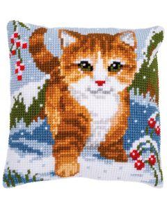 Vervaco borduurkussen kat in de sneeuw pn-0166625