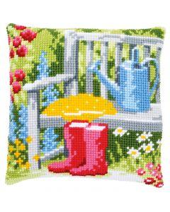 Vervaco borduurkussen mijn tuin pn-0162218 borduren