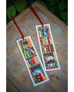 Vervaco borduurpakket 2 boekenleggers katten in boekenrek borduren PN-0187764