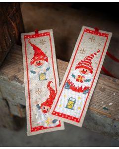 Vervaco borduurpakket 2 boekenleggers Kerstkabouters borduren pn-018507