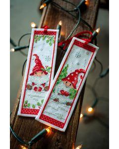 Vervaco borduurpakket 2 boekenleggers kerstkabouters borduren PN-0189703