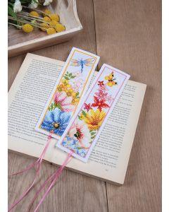 Vervaco borduurpakket 2 boekenleggers kleurige bloemen borduren pn-0184423