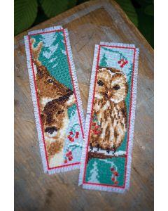 Vervaco borduurpakket 2 boekenleggers uil en herten borduren PN-0158484