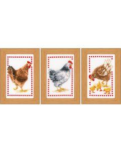 Vervaco borduurpakket 3 stuks kippen borduren pn-0146565
