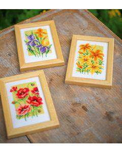 Vervaco borduurpakket 3 stuks zomerbloemen borduren pn-0164189