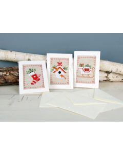 Vervaco borduurpakket 3 wenskaarten kerstmotiefjes borduren pn-01783242