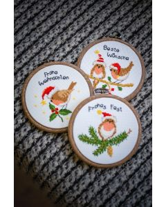 Vervaco borduurpakket Kerstvogeltjes met borduurring pn-0182761 borduren