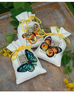 Vervaco borduurpakket kruidenzakje 3 st. vlinders pn-0147918