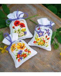 Vervaco borduurpakket kruidenzakje 3 st. zomerbloemen pn-0145823