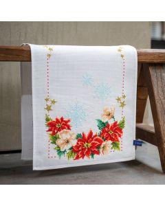 Vervaco borduurpakket loper Kerstbloemen pn-0155487 borduren 32x84cm