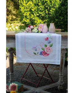 Vervaco borduurpakket tafelloper bloemen met vlinders pn-0167963