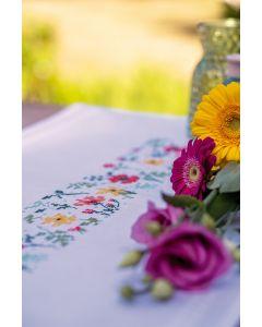 Vervaco borduurpakket tafelloper frisse bloempjes pn-0170777 voorbedrukt