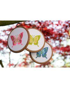 Vervaco borduurpakket vlinders met borduurring pn-0178195 voorbedrukt borduren
