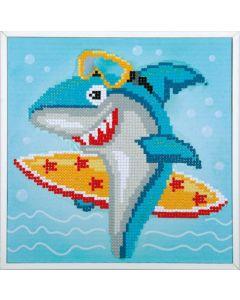 Vervaco diamond painting surfende haai incl. frame voor kinderen pn-0183266