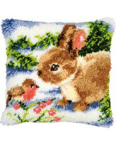 Vervaco knooppakket knoopkussen konijn en vogeltje in de sneeuw pn-0014136 om te knopen