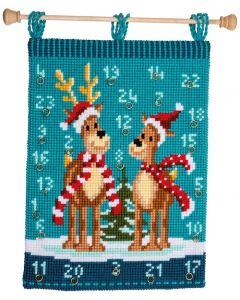 Vervaco kruissteek wandtapijt elanden met sjaals adventkalender pn-0147503